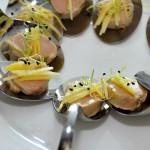 Botons de Foie amb làmines de Mango